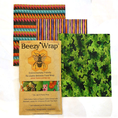 Small 3 Pack Beeswax Wrap by Beezy Wrap®. A Biodegradable environmentally friendly beeswax wrap made in Nova Scotia, Canada. Beeswax wrap Canada