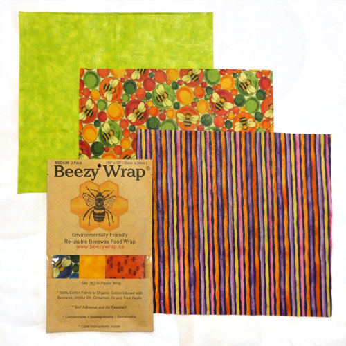 Medium Pack Beeswax Wrap by Beezy Wrap®. A Biodegradable environmentally friendly beeswax food wrap made in Nova Scotia, Canada.Beeswax wrap Canada