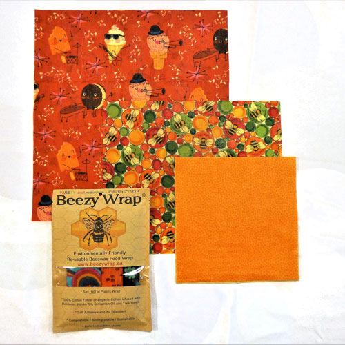 Variety Pack Beeswax wraps by Beezy Wrap®. A Biodegradable environmentally friendly beeswax wrap made in Nova Scotia, Canada.Beeswax wrap Canada