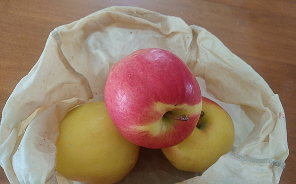 apples in a beeswax bag prototype