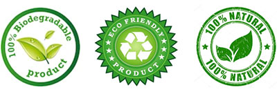 Seals showing this product is 100% biodegradable, eco-friendly and 100% natural