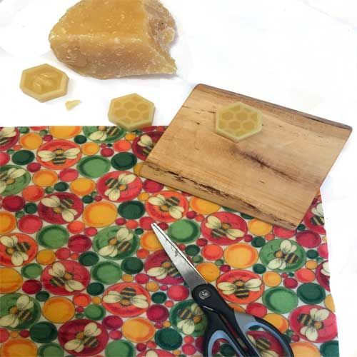 Beeswax Wrap Nuggets, scissors and multi color Beezy Wrap beeswax wrap