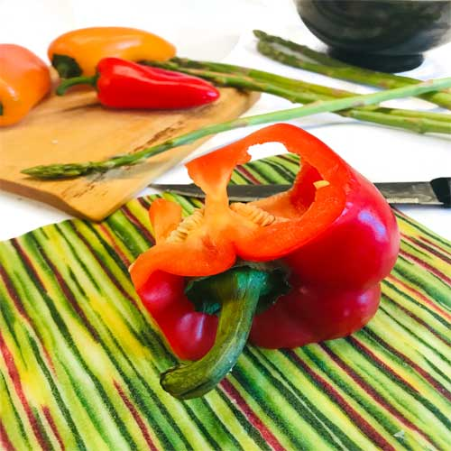 Red Pepper and green beeswax food wrap