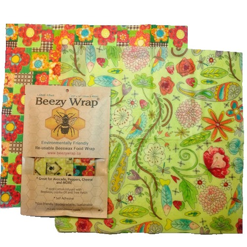 Beezy Wrap® Multi Color Large 2 Pack Beeswax Food Wrap