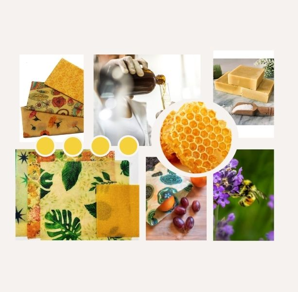 collage of various ways to use a Beezy Wrap beeswax wrap