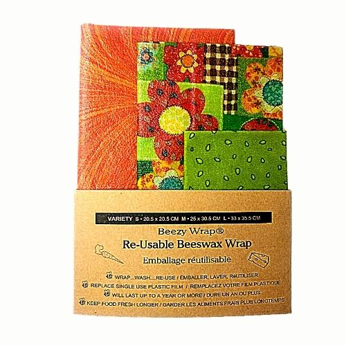 Beezy Wrap Variety beeswax wrap in zero plastic paper band packaging