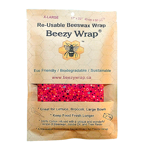 X Large Beeswax Wrap by Beezy Wrap®. A Biodegradable eco friendly beeswax wrap made in Nova Scotia, Canada