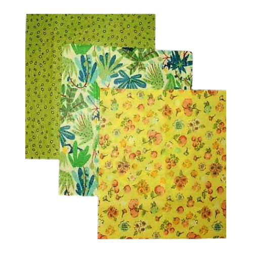 Small Pack Beeswax Wrap by Beezy Wrap®. A Biodegradable eco friendly beeswax wrap made in Nova Scotia, Canada. A plastic wrap alternative will create zero waste and keep food fresh longer.