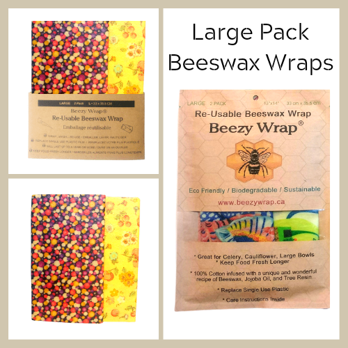 Large Pack Beeswax Wrap by Beezy Wrap®. A Biodegradable eco friendly beeswax wrap made in Nova Scotia, Canada. A plastic wrap alternative will create zero waste and keep food fresh longer.