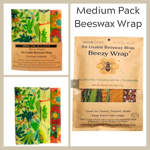 Beezy Wrap® Multi Color Medium Pack Reusable Beeswax Wrap. A Biodegradable environmentally friendly beeswax food wrap made in Nova Scotia, Canada. A beeswax wrap replacement for plastic and zero waste.Keep food fresh longer